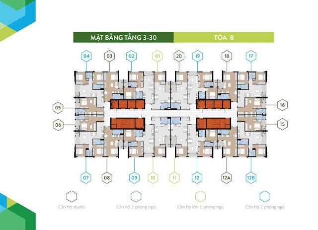 Mặt bằng tầng căn hộ điển hình tòa B