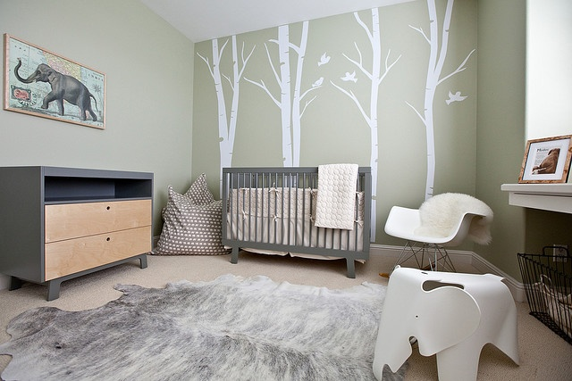 I Absolutely Love This Gorgeous Nature Inspired Nursery The Soft Green And Grey Hues Are Perfectly Complimented By Pale Cow Hide Rug