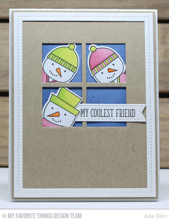 Handmade card from Julie Dinn featuring Cooler with You stamp set and Die-namics, Stitched Sentiments Strips, Window, Single Stitch Line Rectangle Frames, and Blueprints 2 Die-namics #mftstamps