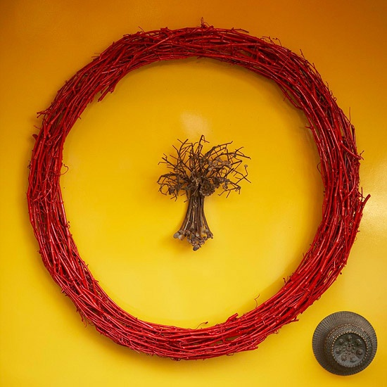 Autumn Wreath Ideas Yellow Door Red Painted Vine Branches