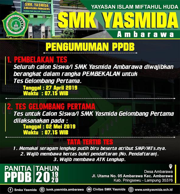 Desain Banner Informasi Pengumuman Tes PPDB 2019 SMK Yasmida Ambarawa