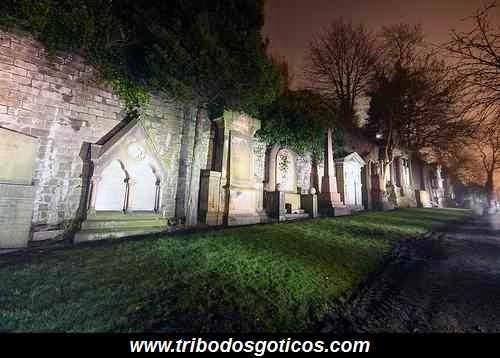 cemiterio a noite lapides arvores escuras