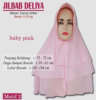 Jilbab model terbaru 3 layer berbahan ceruty gliter-deliya motif 2