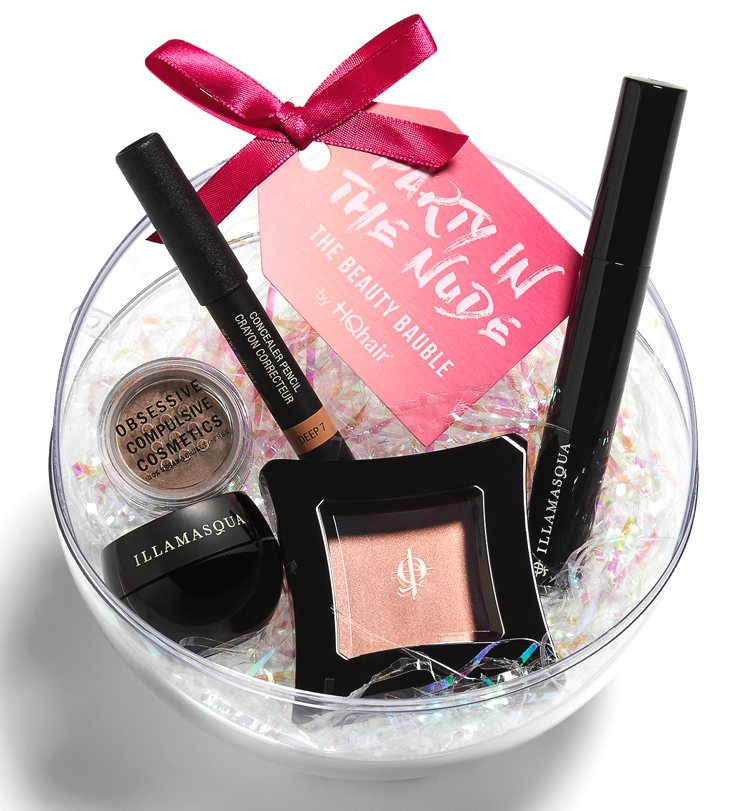 The HQHair Beauty Bauble makeup gift set for Holiday 2016 contains five makeup products including highlighter, eyeshadow, lip/cheek pencil, mascara and primer.