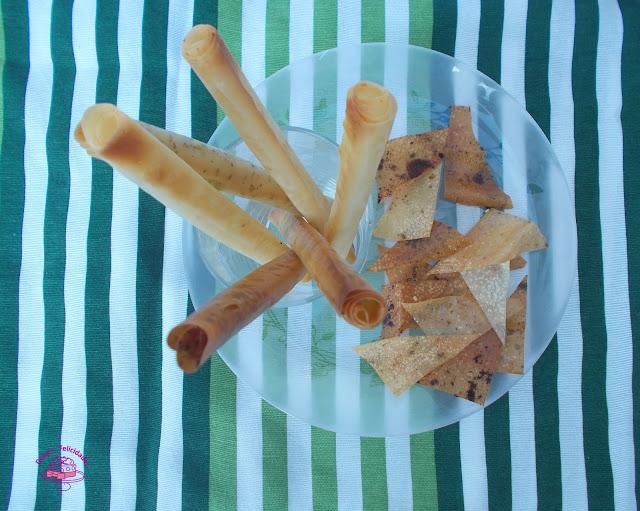 Rosquilletas especiadas y nachos de masa filo