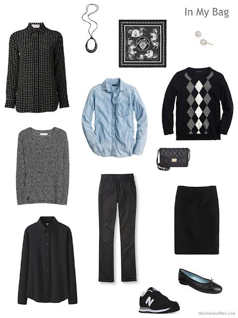 travel capsule wardrobe in black, white, and denim