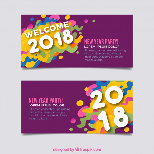 Colorful abstract banners of 2018 Free Vector