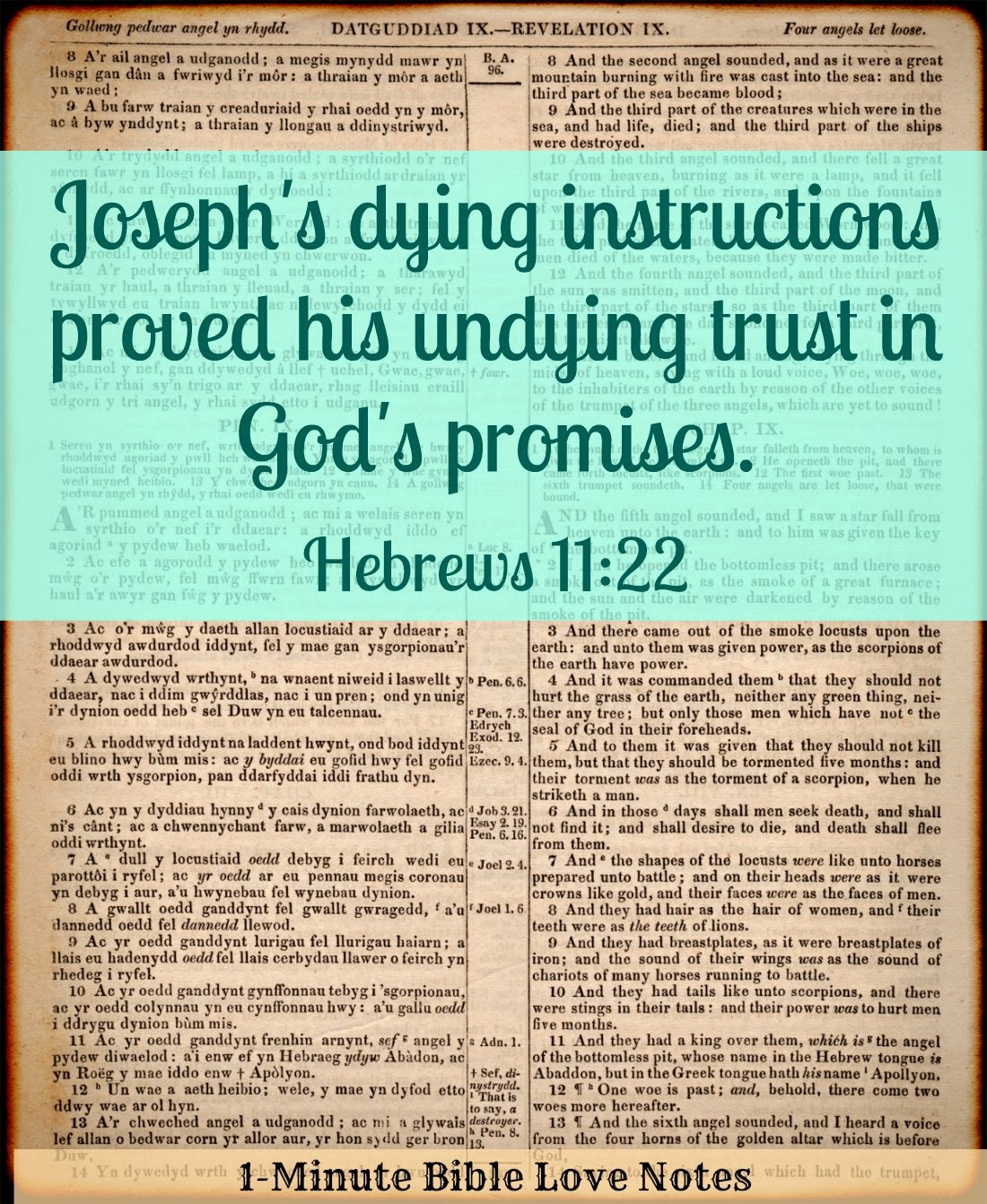 Hebrews 11:22, Joseph's dying words