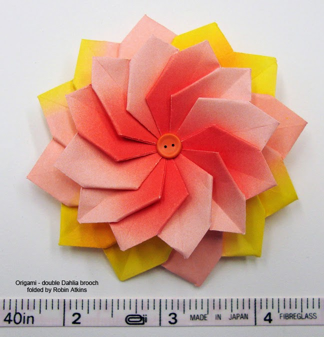 origami flower double dahlia brooch made by Robin Atkins