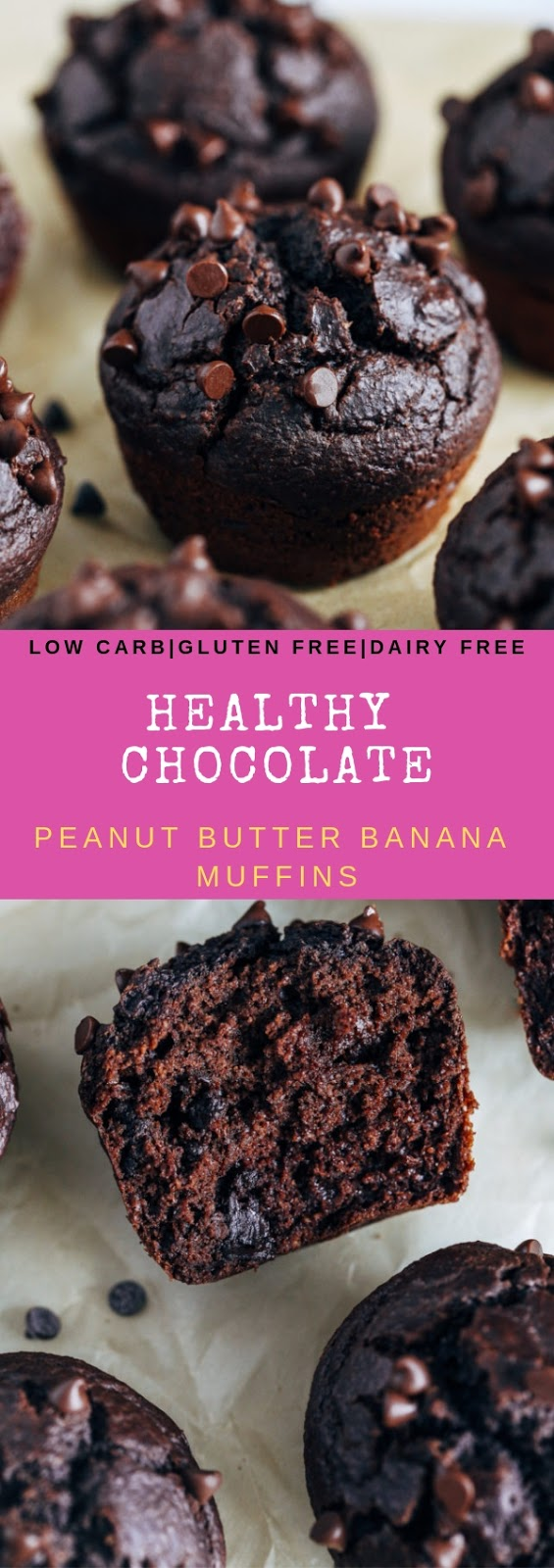 HEALTHY CHOCOLATE PEANUT BUTTER BANANA MUFFINS #dessert lowcarb #glutenfree #dairyfree #healthy #chocolate #peanut #butter #banana #muffin