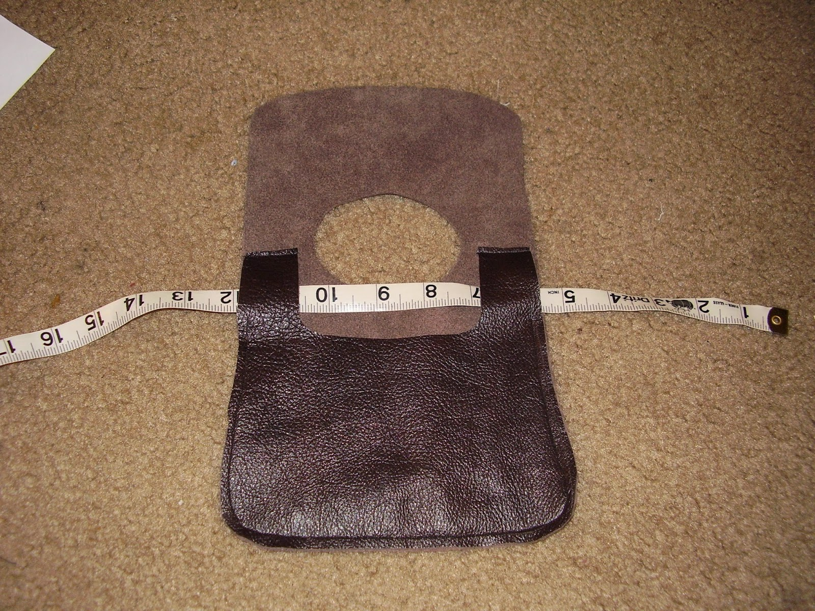 Belt pouch body stitched together.