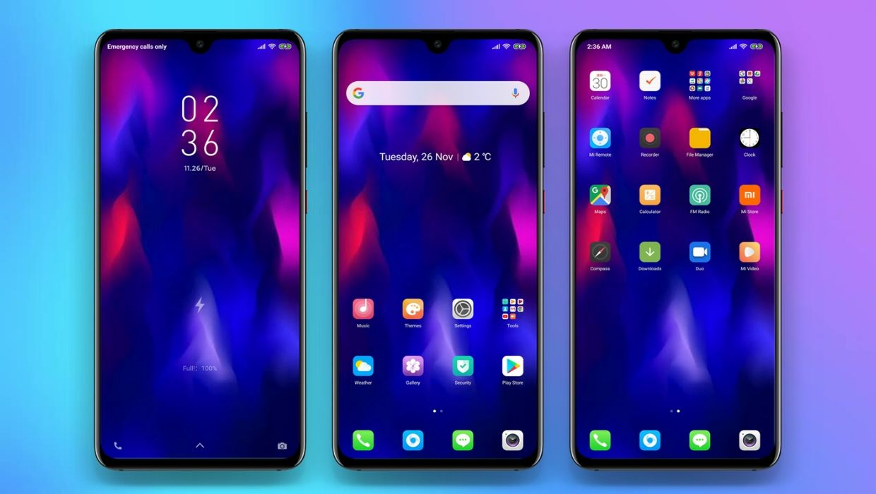 Colour OS Dark MIUI 11 Theme for Xiaomi Redmi Devices