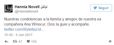 Este Lunes Fallece Ana Winocur ex conductora de Tv Azteca