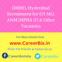 DMHO, Hyderabad Recruitment for 671 MO, ANM/MPHA (F) & Staff Nurse, LT, Pharmacist, Accountant cum Clerk Vacancies
