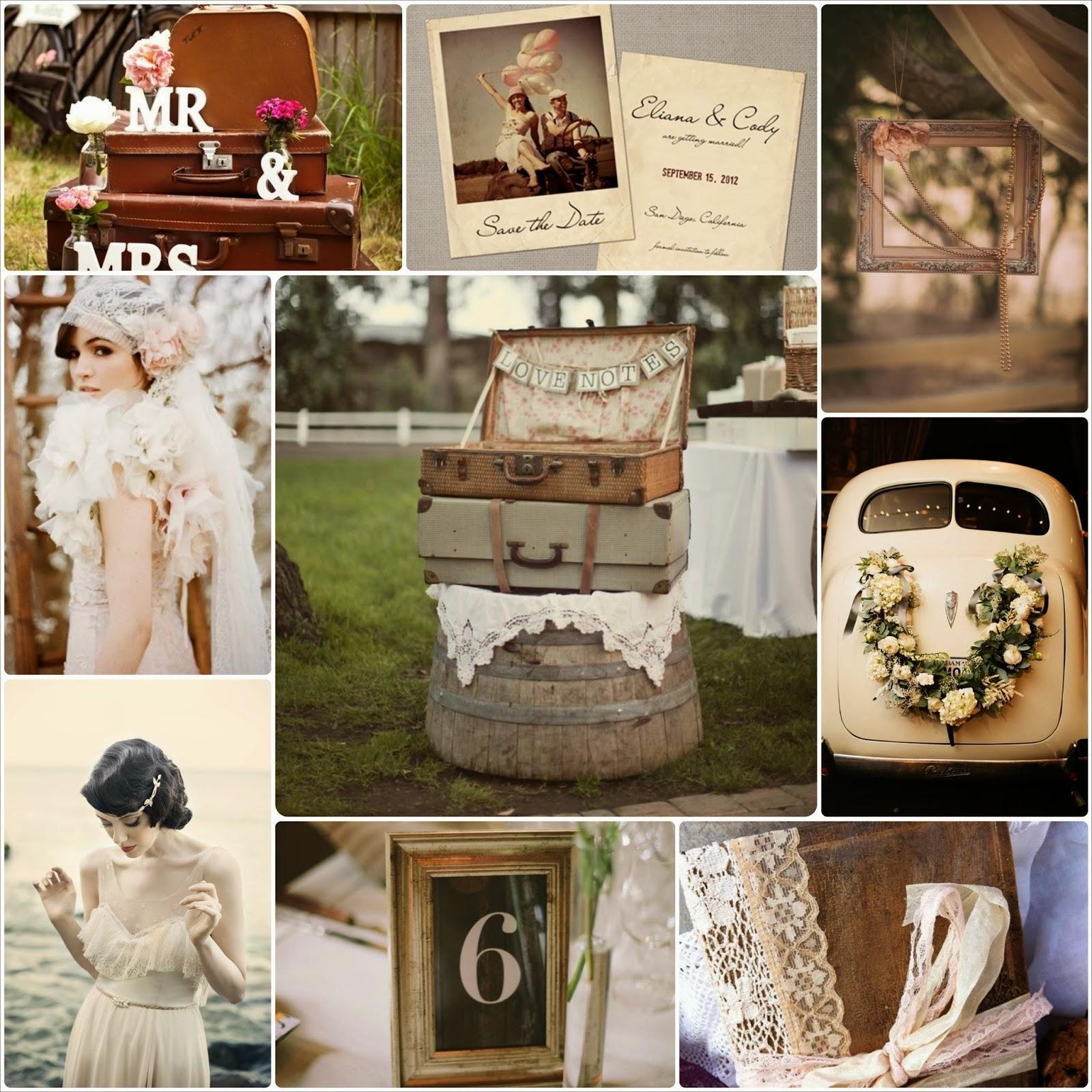 Inspiración bodas de estilo retro vintage, objetos de estilo antiguo, decoración y vestidos