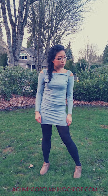 OOTD Inspo Dresslink gray dress with shoulder-cutouts Andrea Tiffany aglimpseofglam