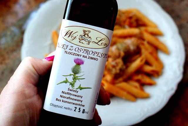 olej z ostropesu, olej kokosowy, potrawy na wątrobę,woj len,penne, makaron z pomidorami,cucina italiana,kuchnia włoska,danie włoskie,