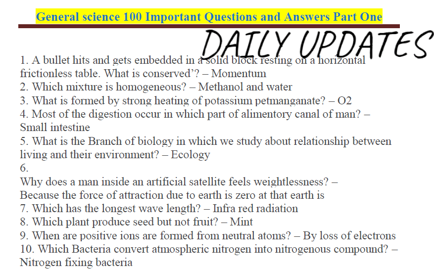 General Science 100 Important Questions and Answers- Download PDF