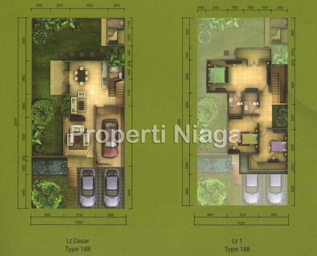 Denah-Rumah-Cluster-Viridis-Montis-Hilltop-Tipe-Vixa-Sentul-City