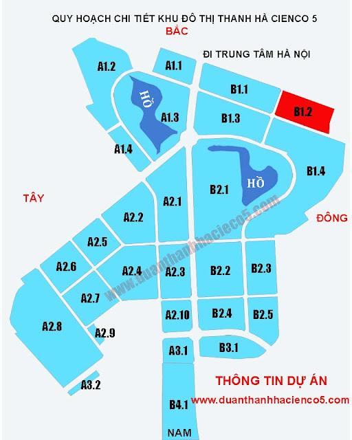 Sơ đồ khu B1.2 dự án Thanh Hà Cienco 5 Hà Đông Mường Thanh