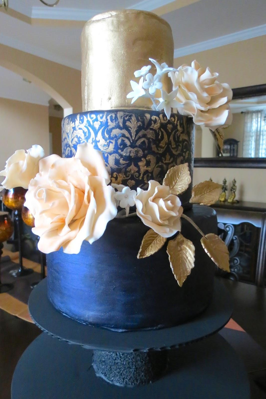 Zainab S Patisserie Midnight Blue Wedding Cake With Gold