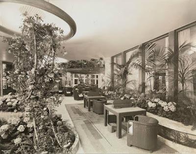 First Class winter garden, ca. 1935.