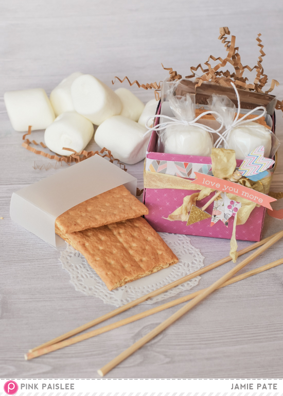National S'mores Day celebrating by creating treat boxes made with Pink Paislee's Cedar Lane. @jamiepate for @piinkpaislee