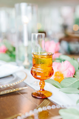 yellow glassware at reception