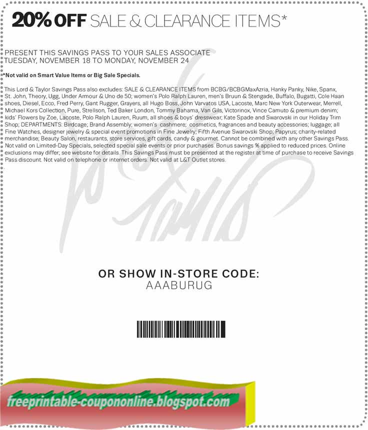 image regarding Lord and Taylor Printable Coupon named Lord and taylor printable coupon codes february 2018 / Specials 2