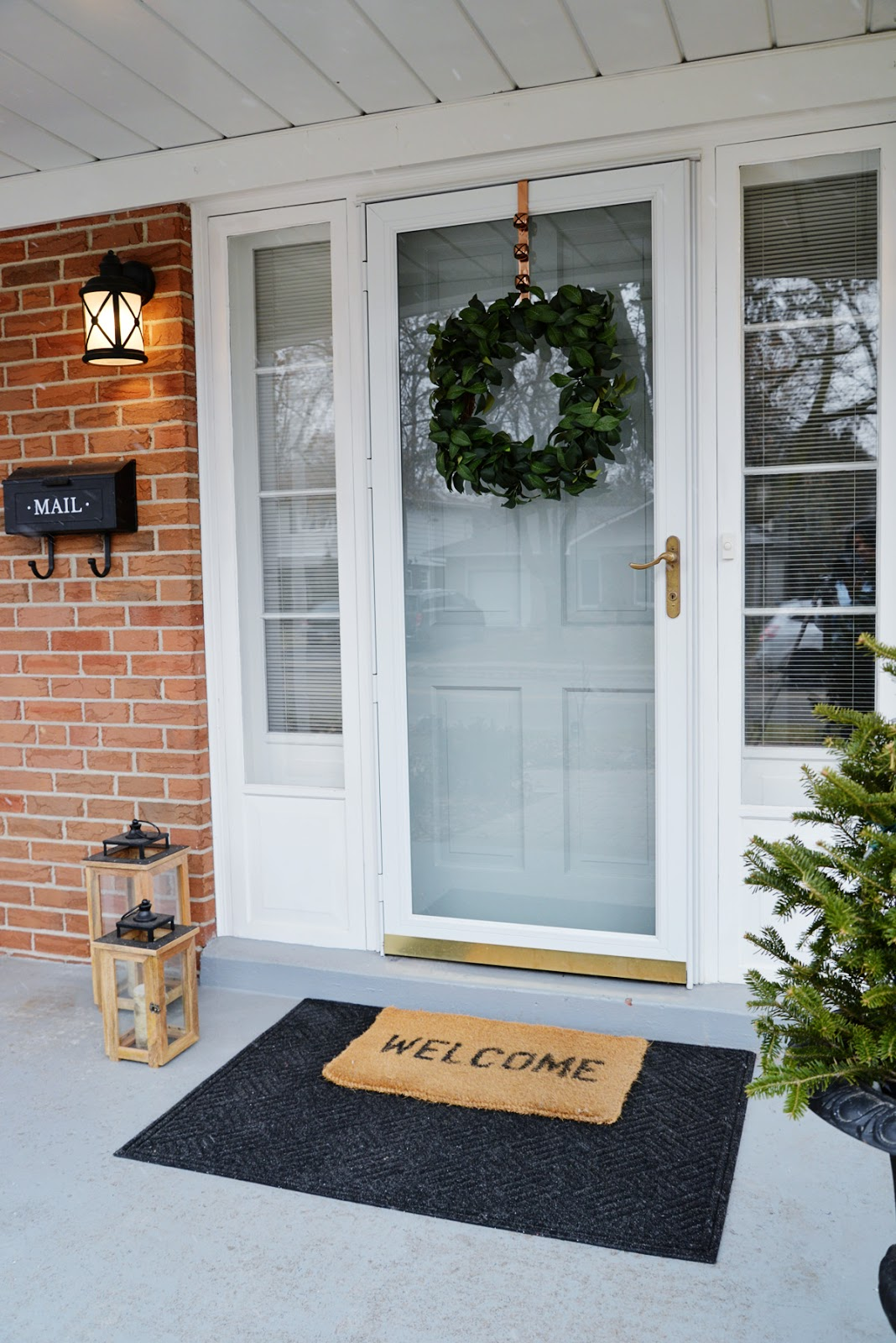 mid winter decor, outdoor mat, front door winter decor