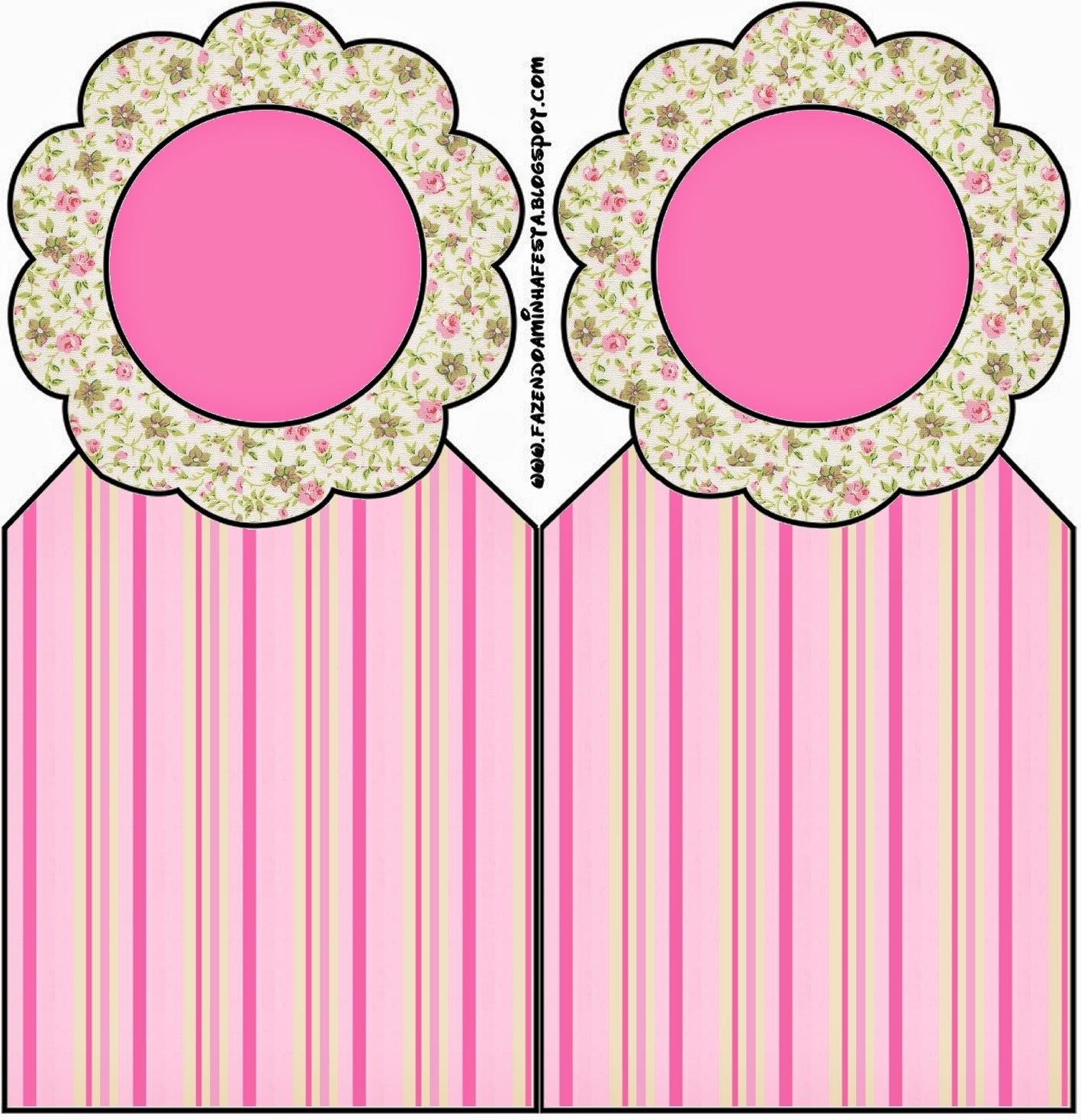 Marcapaginas para Imprimir Gratis de Shabby Chic Rosa y Amarillo.