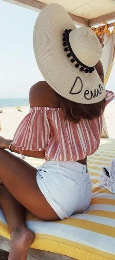beautiful vacation outfit idea : hat + off shoulder top + white shorts