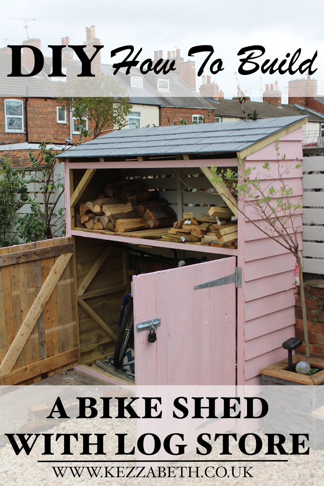 how to build a bike shed with log store