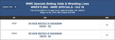 WWE Prop Bet - Rock To Wrestle At Smackdown 1000