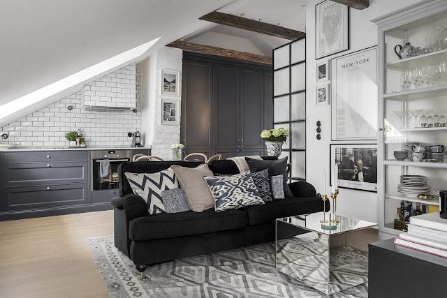 Un apartament la mansarda, de numai 34 m², dar cu un decor practic si elegant