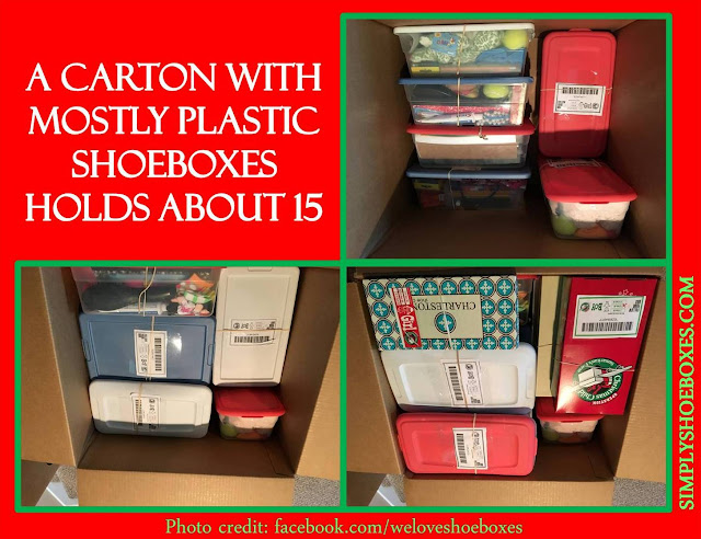 Carton of plastic shoeboxes for Operation Christmas Child