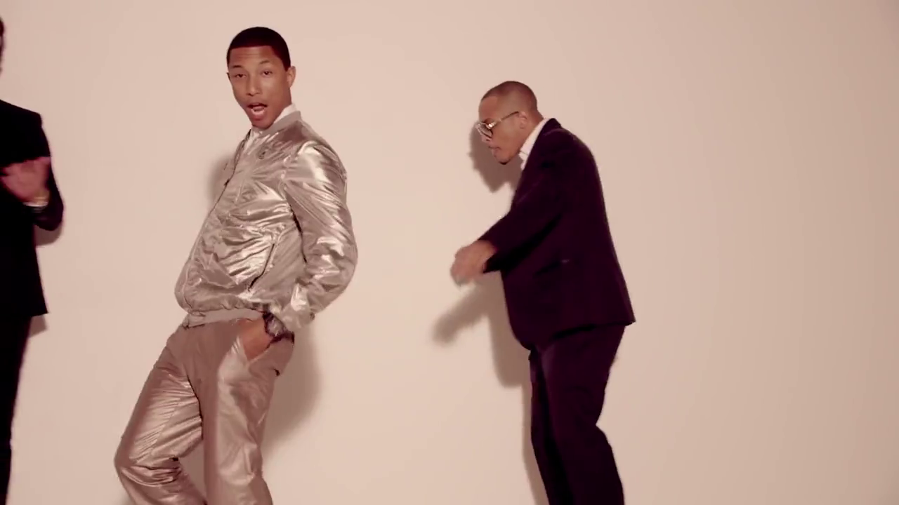Pharrell in Robin Thicke's 'Blurred Lines' Music Video wearing Lanvin