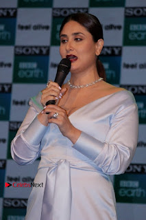Bollywood Actress Kareena Kapoor Stills in Beautiful Silk Long Dress at Sony BBC Earth New Channel Launch  0009.jpg