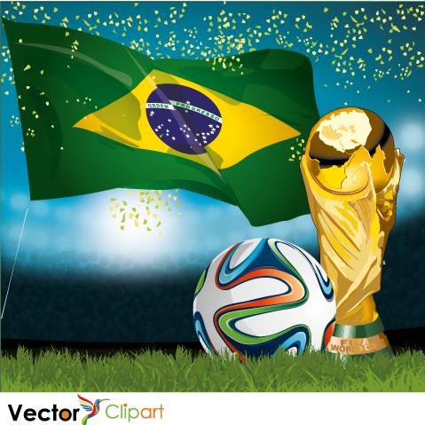 Estadio, bandera, balón y copa Brasil 2014 - Vector