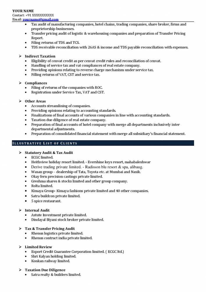 best experienced ca resume sample