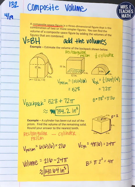 composite volume practice page for geometry interactive notebooks