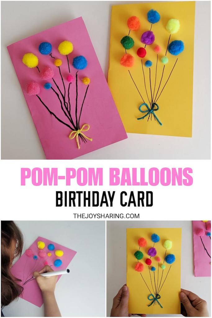 Astounding Pom Pom Balloons Birthday Card The Joy Of Sharing Funny Birthday Cards Online Alyptdamsfinfo