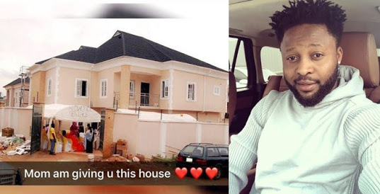 Nigerian Footballer Gifts His Mother A House (Photos)