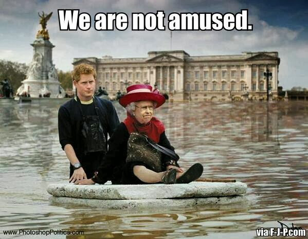 Funny English Floods Prince Harry Queen Joke Picture - We are not amused