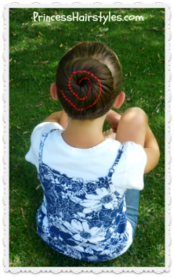 Ribbon swirl bun hairstyle video.