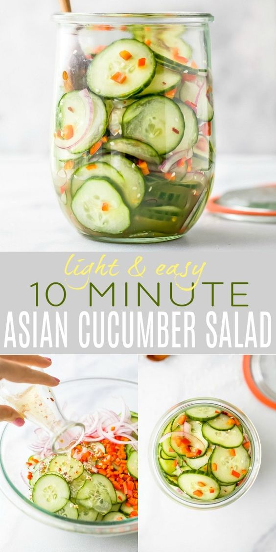 10 Minute Easy Asian Cucumber Salad Recipe (Dairy Free)