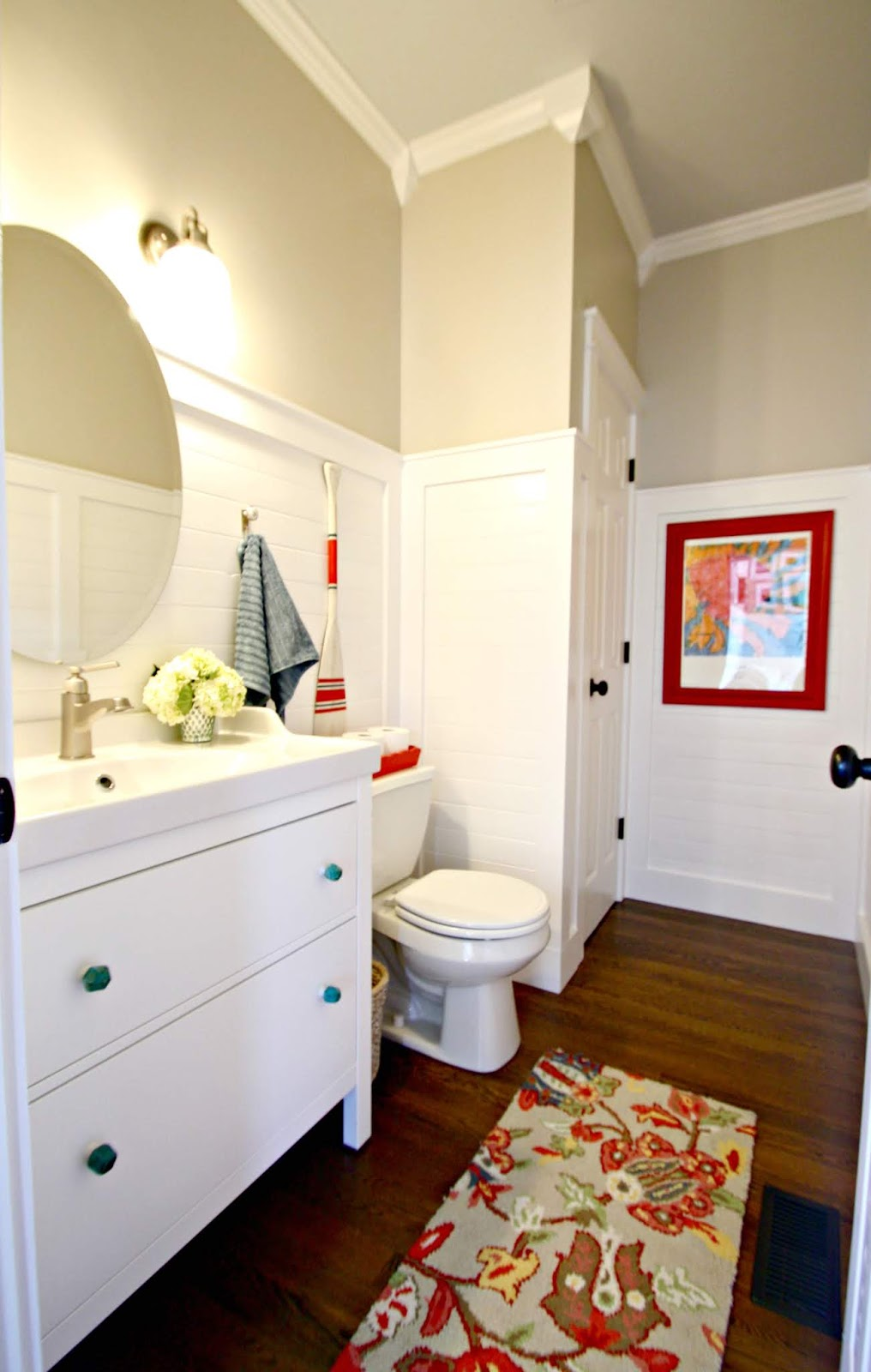 Powder room makeover with planked walls and Ikea