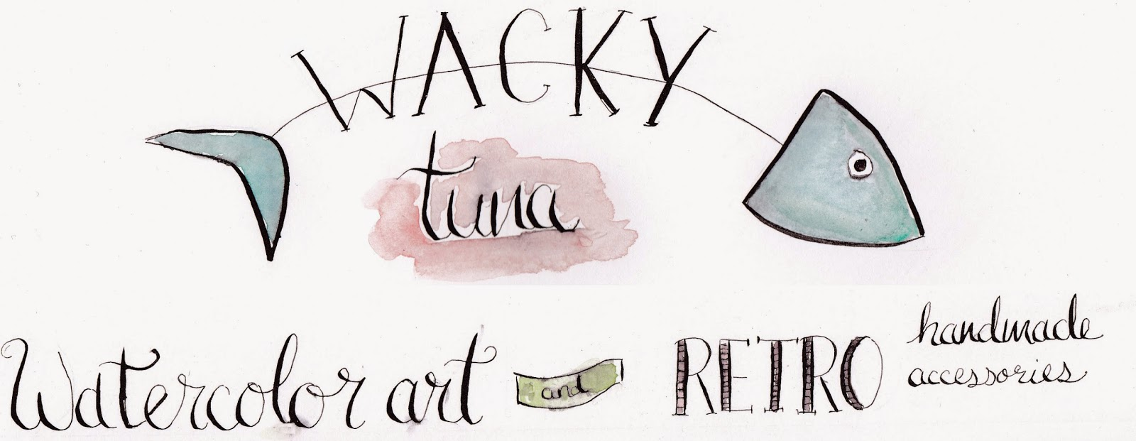 wacky tuna watercolor art and retro handmade accessories from va voom vintage