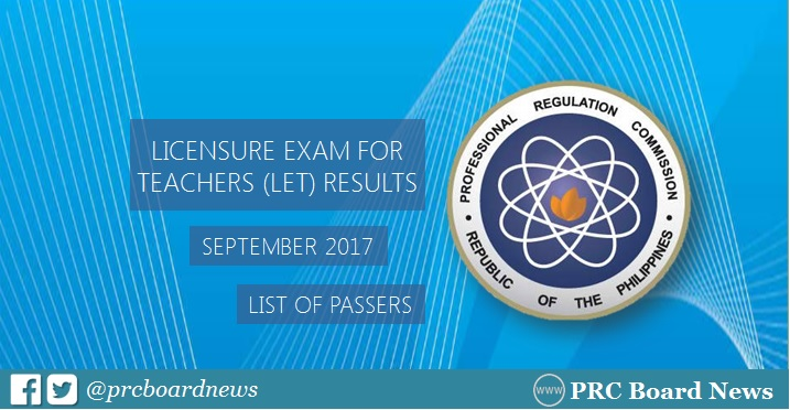 let results september 2017 PRC passers
