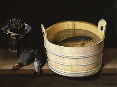 Sébastien Stoskopff (1597-1657), Baquet avec carpe, brasero avec artichaut et piverts,
